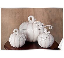 White Pumpkin Soup Bowl with Serving Bowls Poster