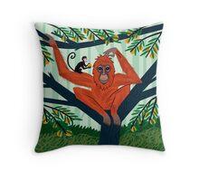 The Orangutan in The Orange Trees Throw Pillow