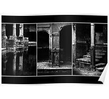 Roman Baths Triptych [black] Poster