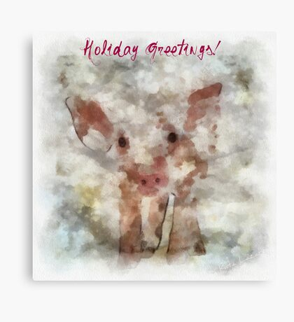 Pig in Snowstorm Canvas Print