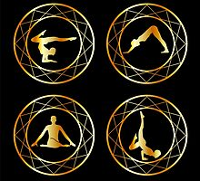 Yoga or gymnast silhouette in geometric design element  by Shawlin Mohd