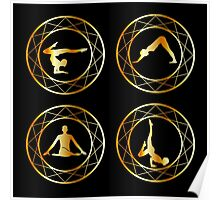 Yoga or gymnast silhouette in geometric design element  Poster