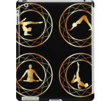 Yoga or gymnast silhouette in geometric design element  iPad Case/Skin