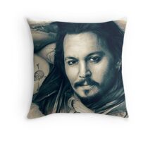 Johnny Depp drawing Throw Pillow