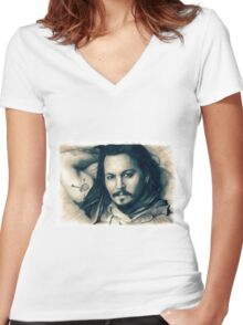 Johnny Depp drawing Women's Fitted V-Neck T-Shirt