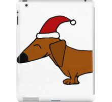 Funky Cool Dachshund Wearing Santa Hat iPad Case/Skin
