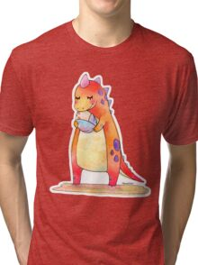Cute Dino Mother & Baby Egg Tri-blend T-Shirt