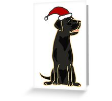 Funky Cool Black Labrador Retriever Dog Christmas Art Greeting Card