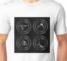 Yoga or gymnast silhouette in geometric design element  Unisex T-Shirt