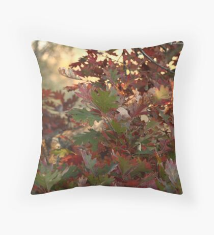 Red and Green Fall Leaves II Throw Pillow