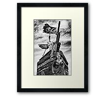 Pirate ship and black flag Framed Print