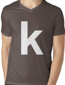 white k Mens V-Neck T-Shirt