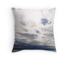 The sun behind the clouds - Nelson beach - New Zealand Throw Pillow