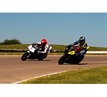 Number 211 Yamaha, and Ducati, gray with white number plate Photographic Print