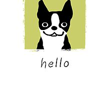 Boston Terrier Hello by Jenn Inashvili