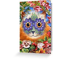 Vintage Wain Flower Cat Art Greeting Card