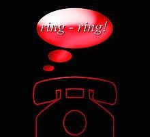 ring ring - phone, sticker, tee by vampvamp