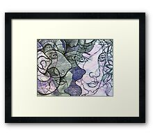 Echoed Faces With Abstracted Flowers  Framed Print