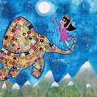 Missy and Elephant fly to the Moon by Meliesque