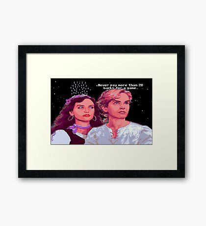 Guybrush and Elaine (final of Monkey Island 1) Framed Print