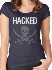 HACKED Pirate Flag - White/Green Design for Computer Hackers Women's Fitted Scoop T-Shirt