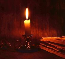Candle and old books by Ingvar Bjork Photography