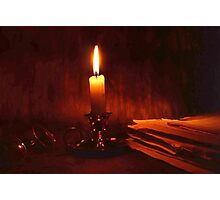 Candle and old books Photographic Print
