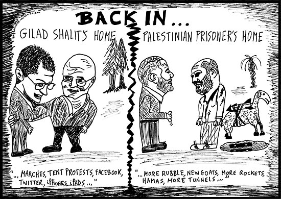 Gilad Shalit and Palestinian former Prisoner Back Home cartoon by bubbleicious