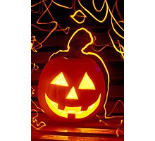 Carved pumpkin smiling Photographic Print