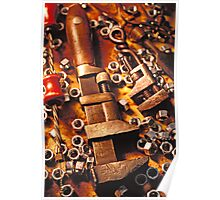 Wrench tools and nuts Poster
