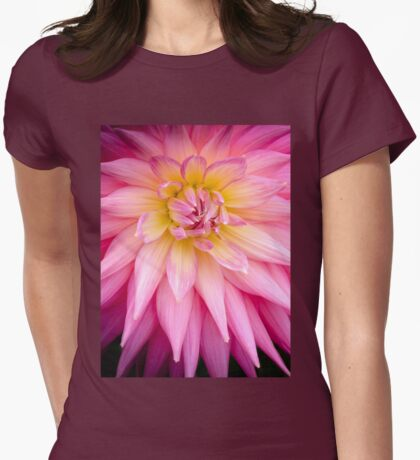 Pink, Spiked Dahlia Flower Womens Fitted T-Shirt