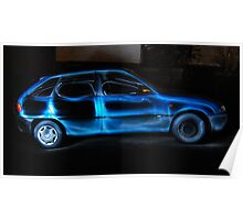 Light Painting With Car Poster