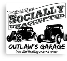 Outlaw's Garage. Socially unaccepted Hot Rods Canvas Print