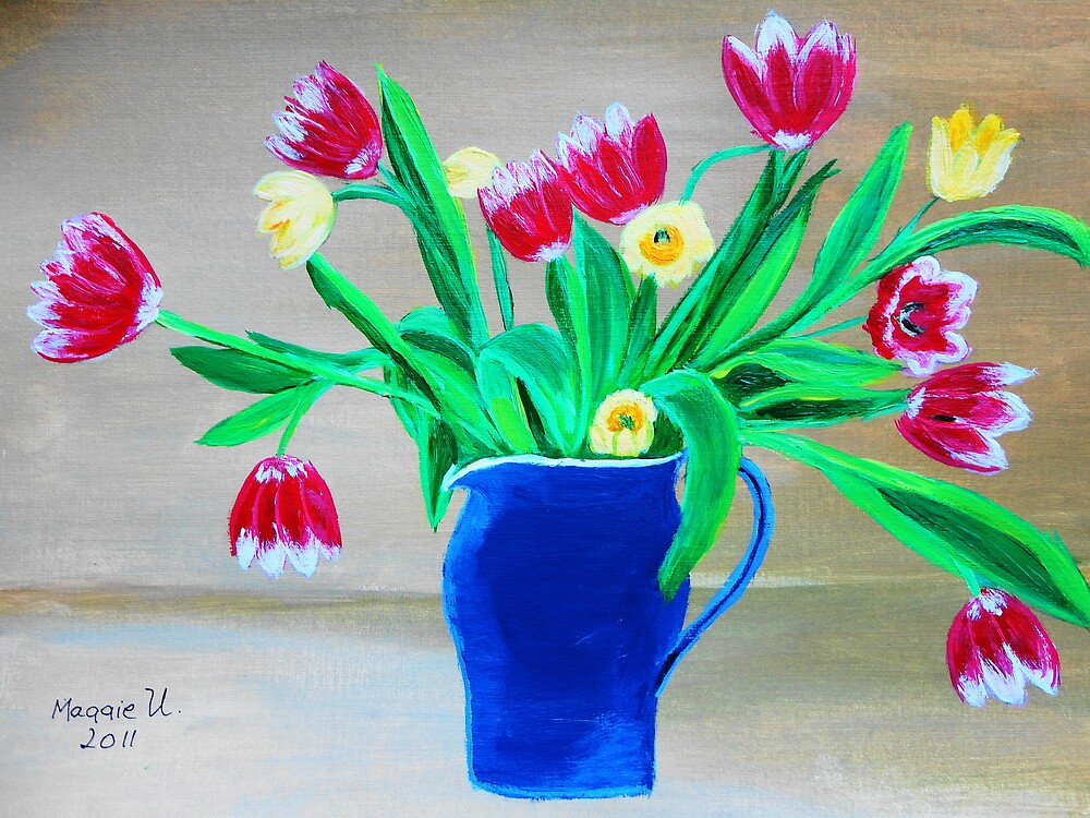 Pitcher full of tulips by maggie326