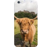 Highland cow standing in front of Stirling Castle iPhone Case/Skin