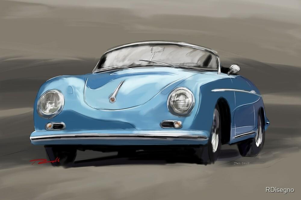 Quot Porsche 356 Speedster Blue Quot By Rdisegno Redbubble