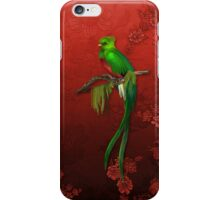 Exotic Quetzal Bird on Red Floral iPhone Case/Skin