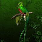 Exotic Quetzal Bird on Green Floral by SpiceTree