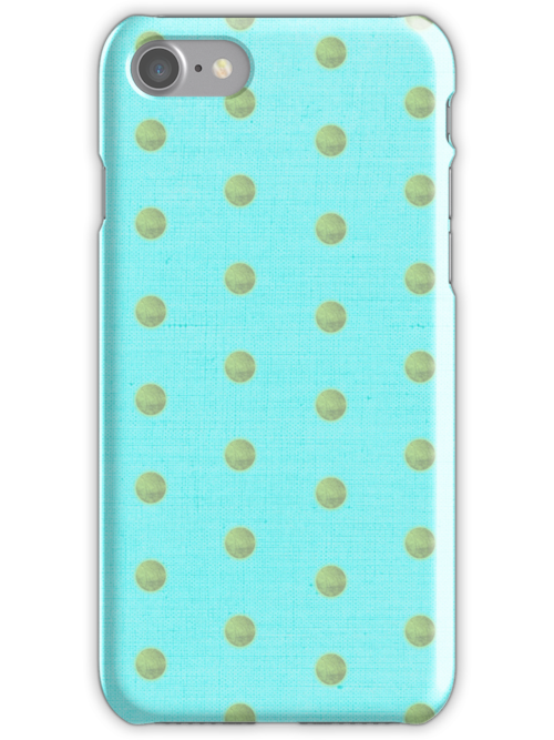Blue and Pistachio green Polka dots iphone case by rupydetequila