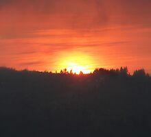 Golden Sunrise Over the Columbia River by Dawna Morton