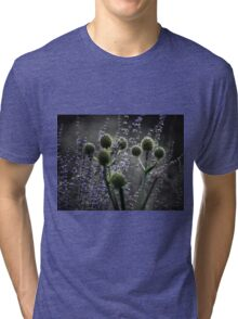 Russian Sage, Rattlesnake Master, Green and Purple Tri-blend T-Shirt