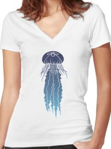 Night Sky Jellyfish (Transparent Lines) Women's Fitted V-Neck T-Shirt