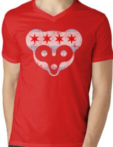 Chicago Flag Cubs Face Mens V-Neck T-Shirt