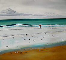 Fisherman on Pippi Beach Yamba by LynFord