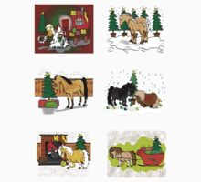 Mini Christmas horse stickers x 6 by Diana-Lee Saville
