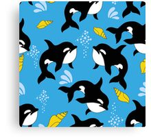 Sea pattern. Funny pattern with whale. underwater sea life Canvas Print