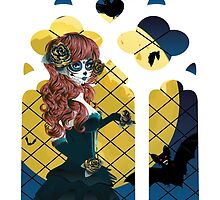 Day of the Dead girl and Gothic window  by AnnArtshock