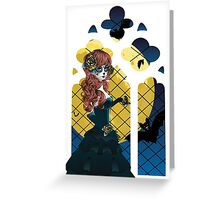 Day of the Dead girl and Gothic window  Greeting Card