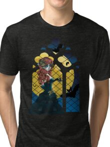 Day of the Dead girl and Gothic window  Tri-blend T-Shirt