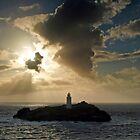 Godrevy Lighthouse Sunset (Square) by George Wheelhouse
